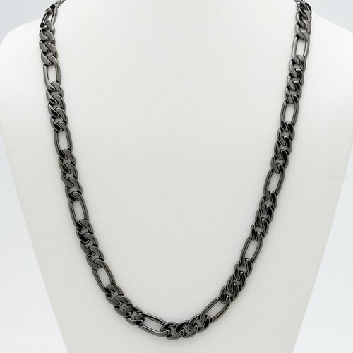 "Palm Beach Jewelry 30"" Black Ruthenium Figaro-Link Necklace"