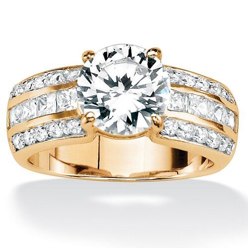 Palm Beach Jewelry Gold Plated Round and Princess-Cut Cubic Zirconia Ring