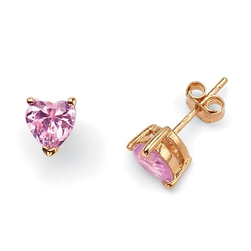 14k Gold Plated Pink Heart Pierced Earrings