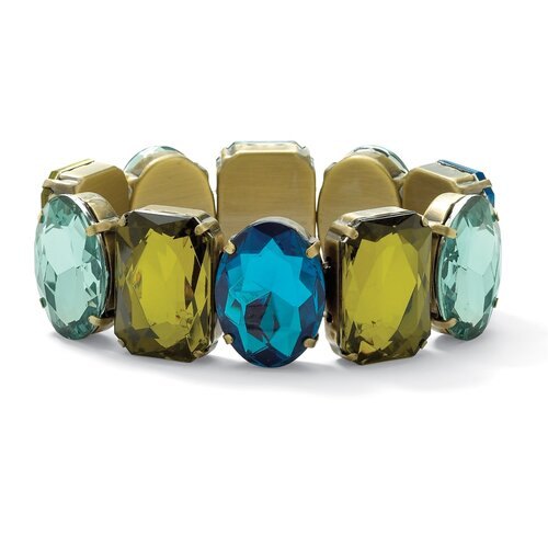 Goldtone Blue and Green Lucite Bracelet