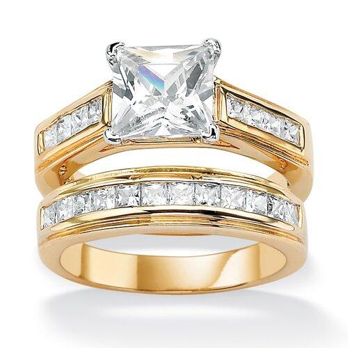 14k Gold Plated Princess-Cut Cubic Zirconia Wedding Ring Set