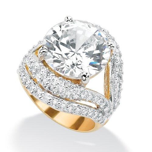 Palm Beach Jewelry Gold Plated Cubic Zirconia Split-Shank Ring