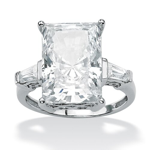 Palm Beach Jewelry Platinum/Silver Radiant-Cut and Baguette Cubic Zirconia Ring