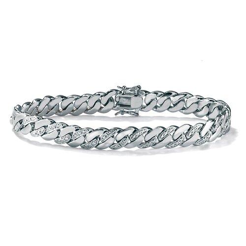 Platinum Plated Men's Diamond Accent Curb Bracelet