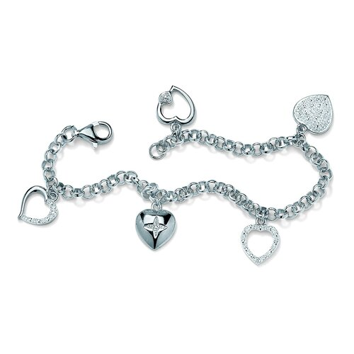 Palm Beach Jewelry Platinum Plated Multi-Heart Diamond Accent Bracelet