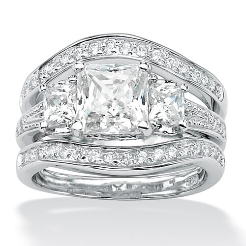 Platinum Plated Princess and Round Cubic Zirconia Ring Set