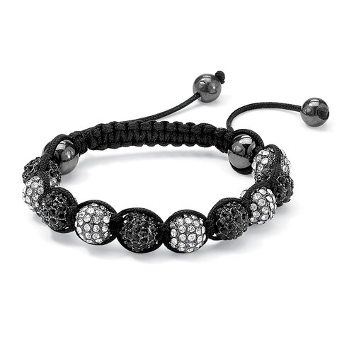 Palm Beach Jewelry Black and White Crystal Ball Bracelet