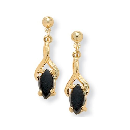 Palm Beach Jewelry Gold Plated Onyx Earrings
