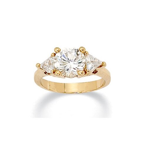 Palm Beach Jewelry Gold Plated Round and Trilliant-Cut Cubic Zirconia Ring