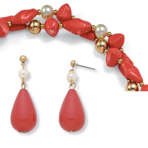 Goldtone Simulated Cultured Pearl/Coral Jewelry 3 Piece Set