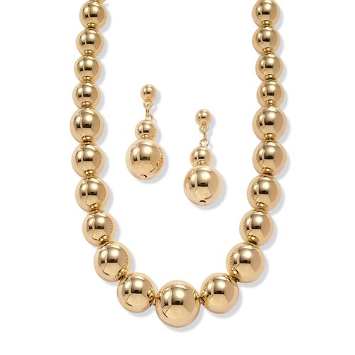 Palm Beach Jewelry Goldtone 2 Piece Graduated Ball Set