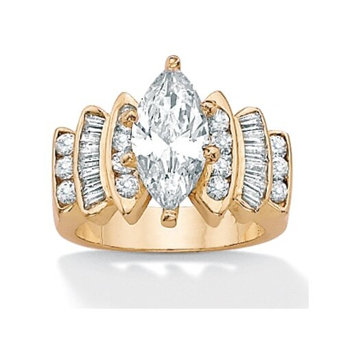 Palm Beach Jewelry 14k Gold Plated Cubic Zirconia Ring