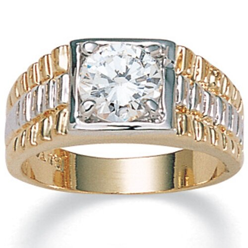 Men's 14K Gold - Plated Cubic Zirconia Ring