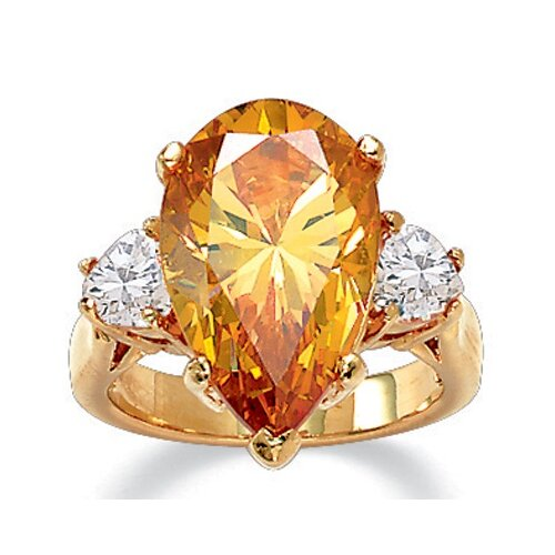 Pear - Shaped Champagne Cubic Zirconia Ring