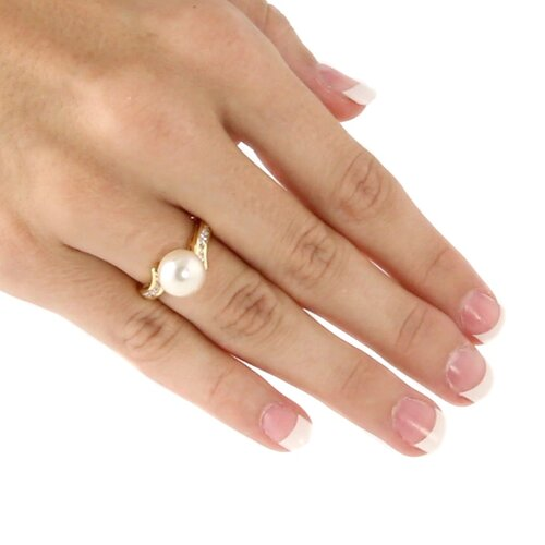 Palm Beach Jewelry Simulated Cultured Pearl / Cubic Zirconia Ring