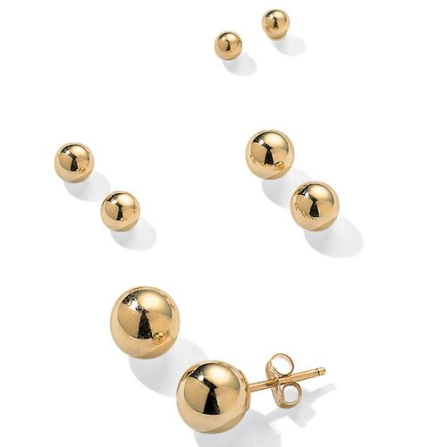 14K 4 - Pair Ball Earring Set