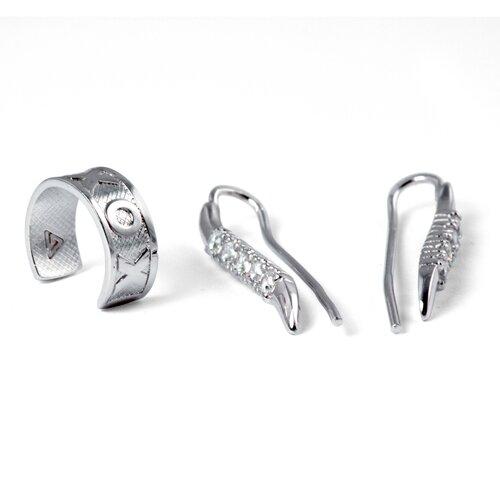 "Palm Beach Jewelry Cubic Zirconia Silver Ear Pins ""X"" and ""O"" Ear Cuff"