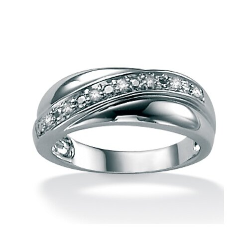 Palm Beach Jewelry Men's Diamond Plat / Sterling Silver Band