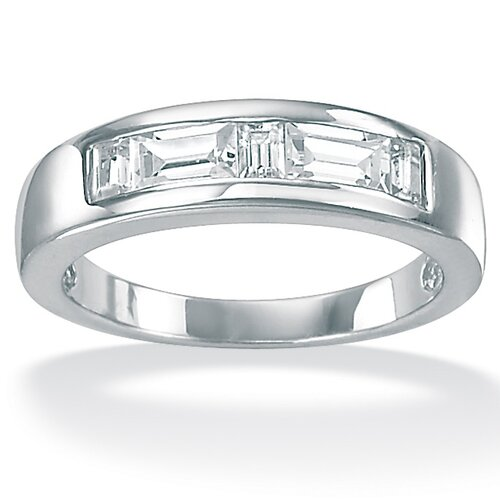 Palm Beach Jewelry Men's Cubic Zirconia Platinum / Sterling Silver Ring