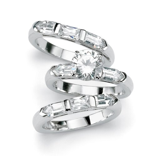 Palm Beach Jewelry 3 Pieces Cubic Zirconia Silver Bridal Set