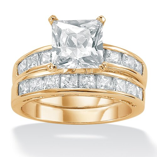 2-Piece Cubic Zirconia Solitaire Ring Set