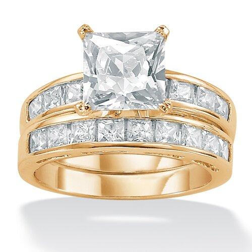 2-Piece Cubic Zirconia Solitaire Ring Set