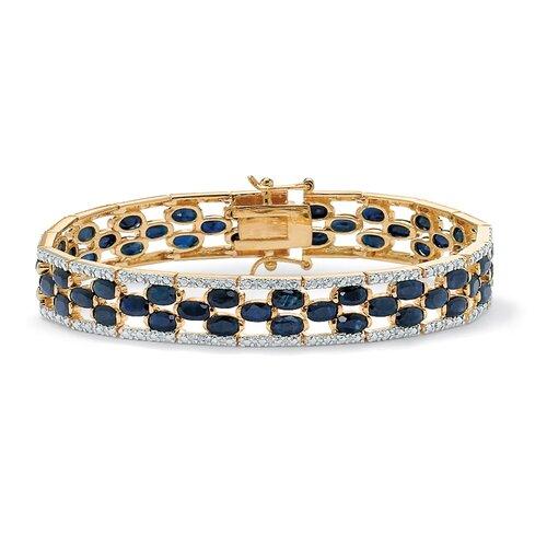 Palm Beach Jewelry Oval-Cut Sapphire Tennis Bracelet