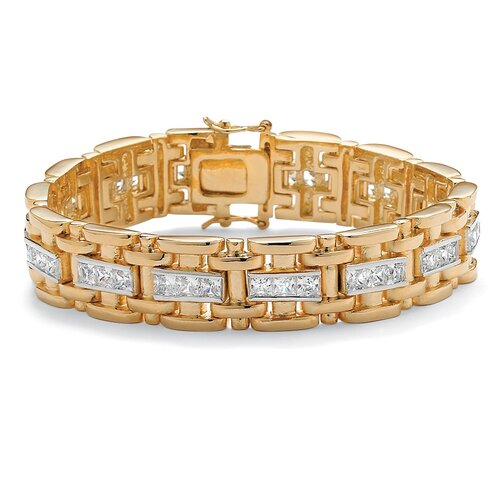 Palm Beach Jewelry Men's Cubic Zirconia Bar - Link Bracelet