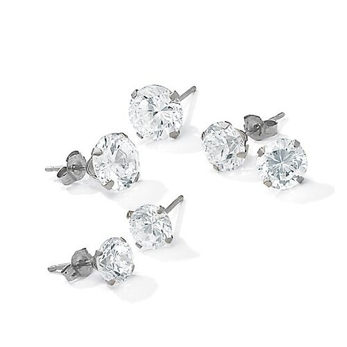Palm Beach Jewelry 3 Pairs of Cubic Zirconia Earrings