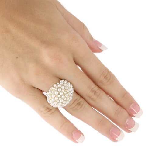 Palm Beach Jewelry Simulated Cultured Pearl Cluster Dome Ring