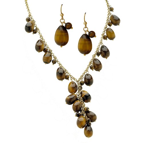 Palm Beach Jewelry Tiger's-Eye Dangling Jewelry Set