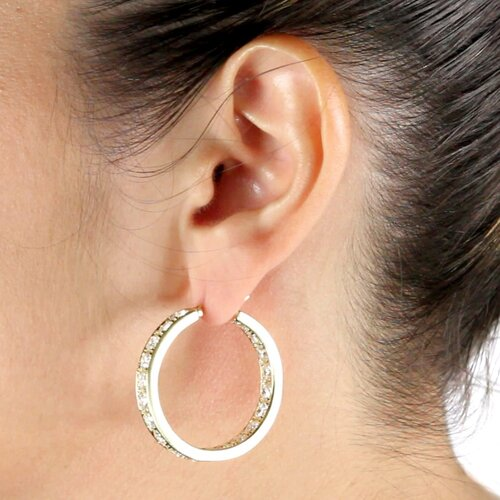 Palm Beach Jewelry Cubic Zirconia Inside-Out Hoop Pierced Earrings