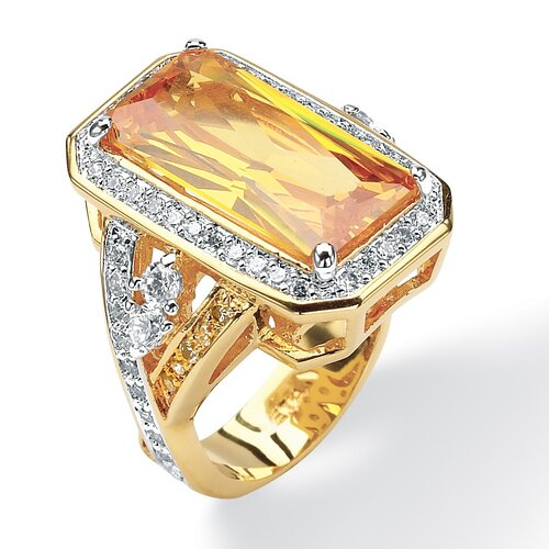 Palm Beach Jewelry Canary Yellow / White Cubic Zirconia Ring