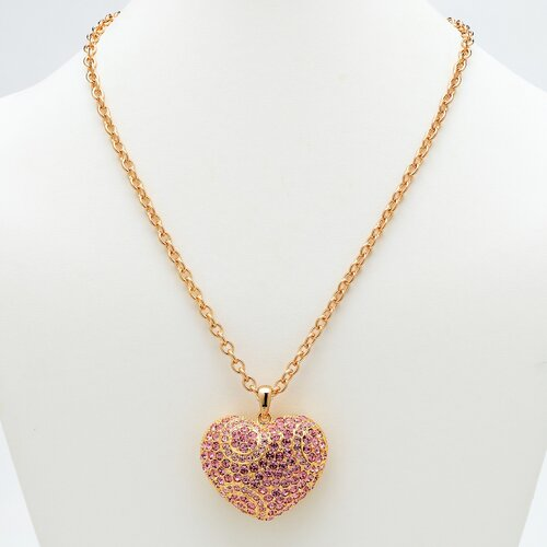 Palm Beach Jewelry Pink Crystal Heart Pendant