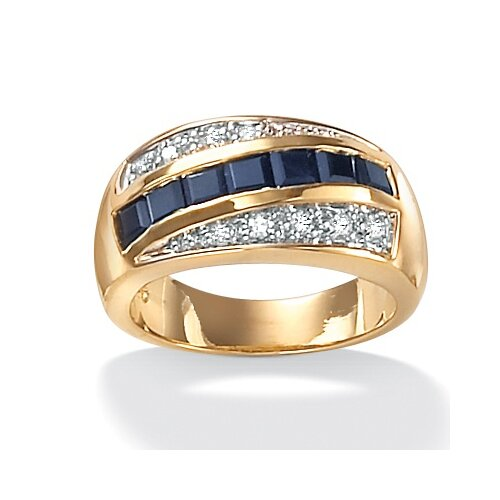 Men's Sapphire and Cubic Zirconia Ring