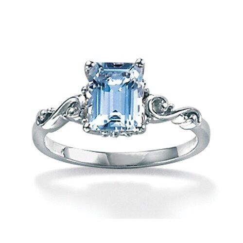 Palm Beach Jewelry Octagon-Cut Aquamarine Ring