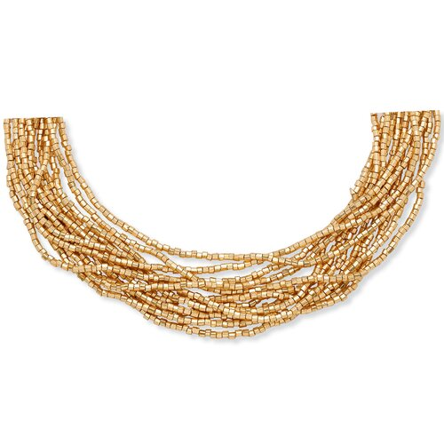 Multi - Row Golden Beaded Necklace