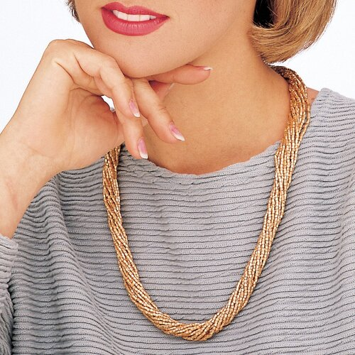 Palm Beach Jewelry Multi - Row Golden Beaded Necklace