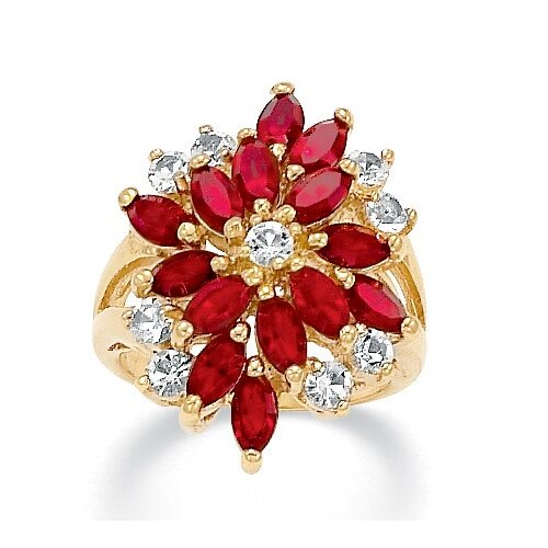 14K Gold Plated Marquise Crystal Ring