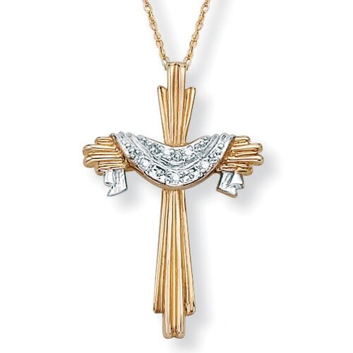 Palm Beach Jewelry Single and Round Diamond Accent Cross Pendant