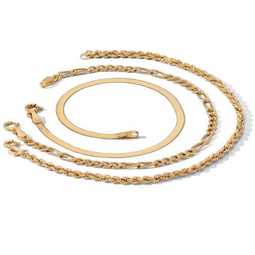 Palm Beach Jewelry 3-Piece 18k Anklet Set