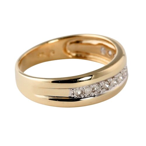 Palm Beach Jewelry Men's 10k Gold Round Diamond Wedding Band Ring