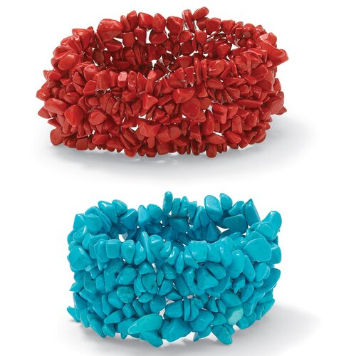 Palm Beach Jewelry Coral and Turquoise Stretch Nugget Bracelets
