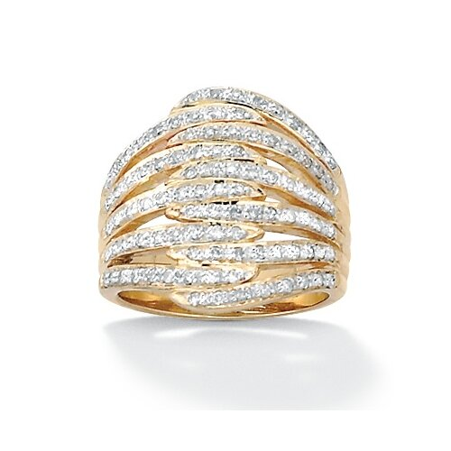 Palm Beach Jewelry Sterling Silver Round Diamond Dome Ring