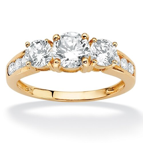 Palm Beach Jewelry 10k Gold Channel-Set DiamonUltra Round Cubic Zirconia Ring