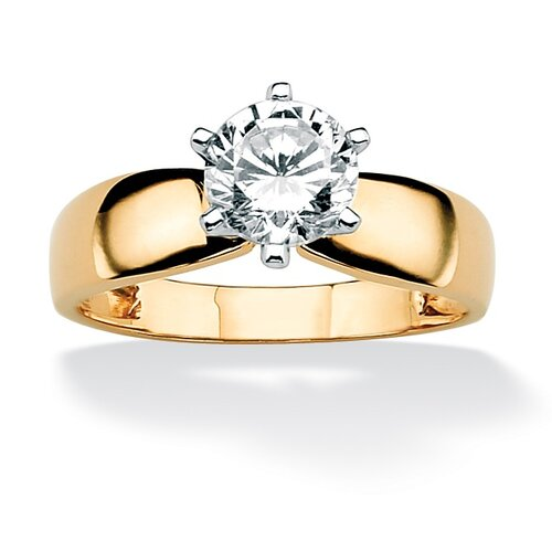 Gold Round Cubic Zirconia Solitaire Ring