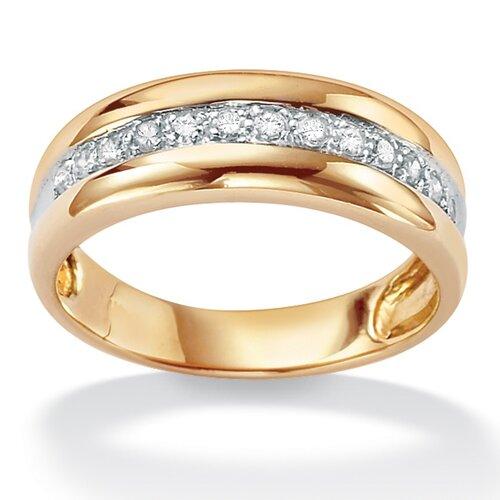 Men's Sterling Silver Round Diamond Wedding Band Ring