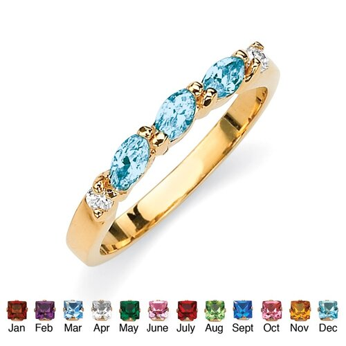 Brass Marquise and Round Birthstone Ring