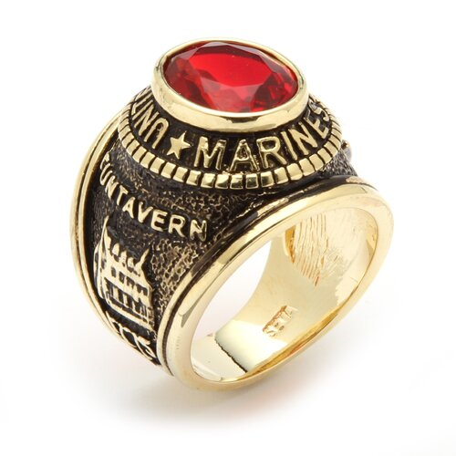 Palm Beach Jewelry Men's 14K Gold Plated Oval Crystal Marines Ring