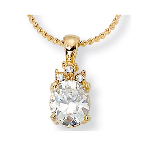 Palm Beach Jewelry Oval Cubic Zirconia Pendant